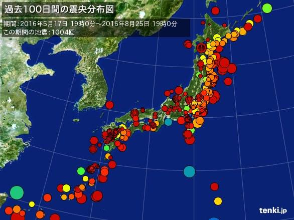 Quantos terremotos ocorrem num período de 100 dias?